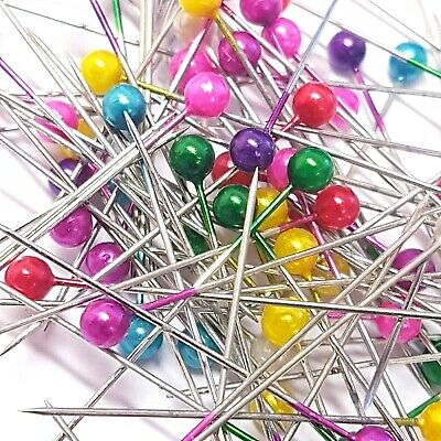 100 x Dressmaking Pins Sewing Round Pearl Berry Head Wedding Decorating Crafts