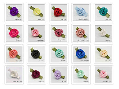 Small Satin Ribbon Roses  Bud size 10mm 40 Colours Packet Size 5 20 50 100