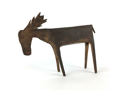 Vintage Rustic Metal Moose Sculpture Modernist Cabin Lake Decor