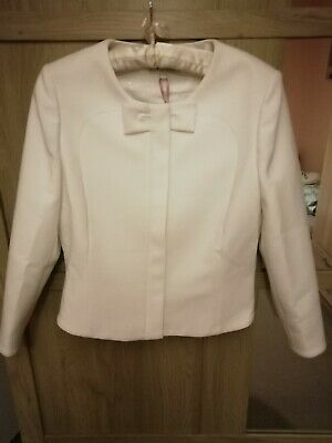 Ted Baker Ione WOMENS Textured Cropped Bow Jacket Ivory Dress Size 1 UK  8 EU 36