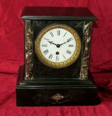 An 8 Day French Black Marble Mantle Clock For Restoration