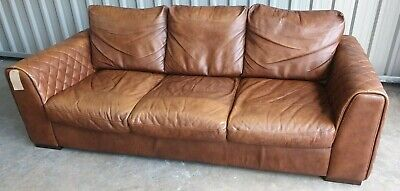 MAZZINI 3 SEATER Leather Sofa In Whiskey Brown - Rrp £1099 ...