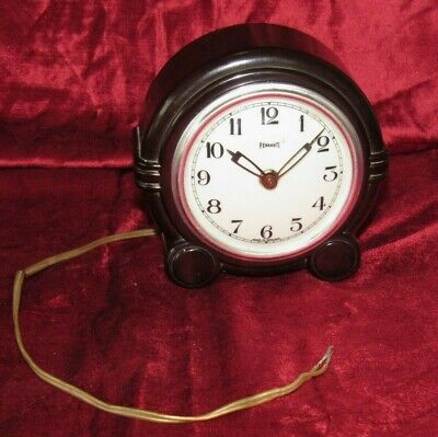 A Nice Art Deco Styled Bakelite Electric Clock By Ferranti