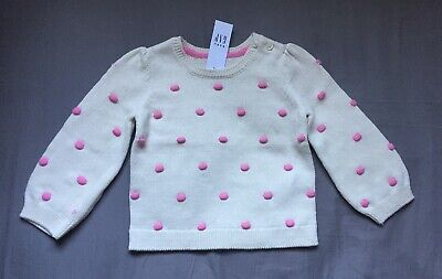 Baby Girl 18-24 Month Baby Gap Off White Pink Popcorn Knit Pullover Sweater