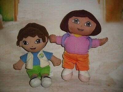 "Fisher Price Dora the Explorer & Diego pair 8"" plush 2006 Mattel doll stuffies"