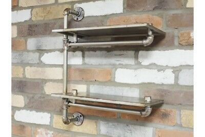 Pipe Shelf Metal 2 Tier Industrial Wal Racking Retro Industrial Wall Storage