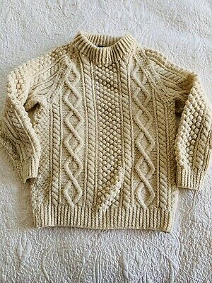 Vintage Hand Knit in Ireland Aran Wool Sweater for W & J Wilson, Canada Youth L