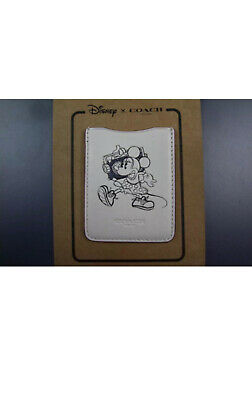 Disney COACH F30799 F30800 Credit Card Pocket Stick On Cell Phone Wallet Leather