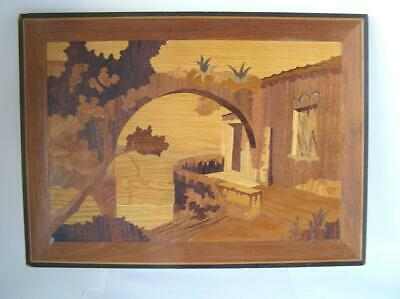 Marquetry Inlaid Wooden ART Italian Inlaid Street Scene 16x11