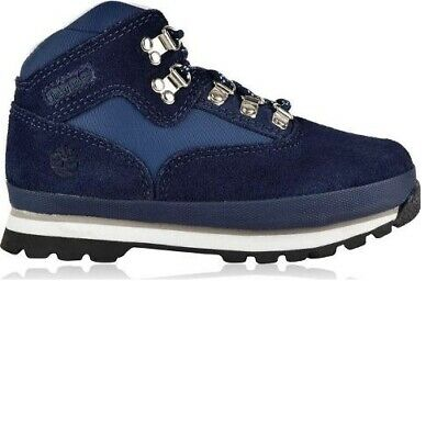 Timberland Euro Sprint Navy Nubuck Leather Junior Hiker Boots TB 0A126M484 Size