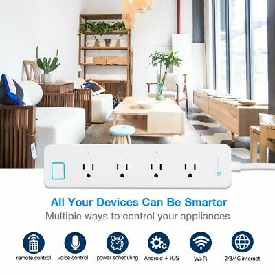 Houzetek Wifi Smart 4-Outlet Multipresa App Voce Controllo per Amazon Alexa Casa