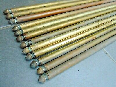 """Set 12 Reclaimed Vintage French 25"""" Brass Carpet Stair Rods"""