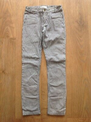 M&S Girls Blue White Stripe Trousers Age 9-10 Years Adjustable Waist D136