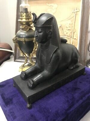 Antique Bronze Sphinx EGYPTIAN Grand Tour With Ancient Symbols Around The Sole