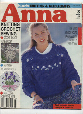 Anna March 1990 Knitting Crochet Sewing  magazine VGC - Free P&P