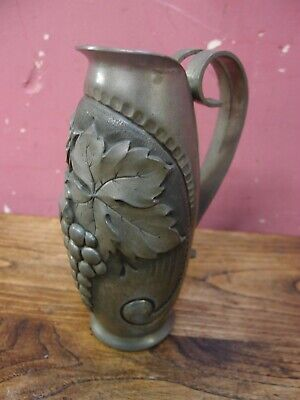 ANTIQUE 1950's FRENCH BEATEN PEWTER WINE CARAFE JUG PITCHER