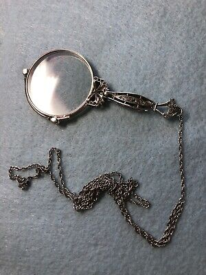 F&B Antique Sterling Silver Lorgnette Art Deco with Chain