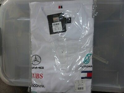 White Mercedes AMG Petronas Motorsport F1 Men's Team Polo Shirt - 2019  XXL Bnwt