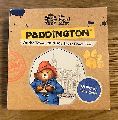 2019 Paddington 50p Royal Mint Proof coin case and capsule (plus circulated 50p)