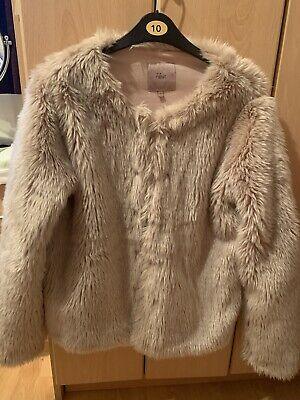 Next Dusty Pink Faux Fur Coat Size 10