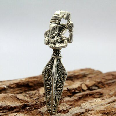 Collect China Tibet Miao Silver Hand-Carved Chic Elephant Exorcism Noble Pendant