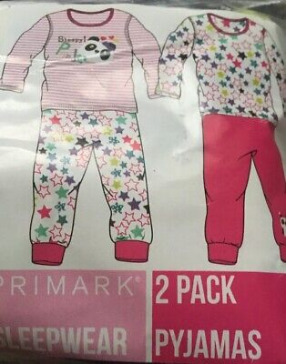BNIP 2 Pack Kid Girl Panda Cotton Pyjama Pajama Pj Set Christmas Gift AGE6-7 122