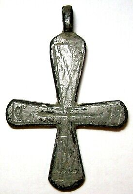 Ancient Very Rare bronze pectoral Believer cross Middle Ages.