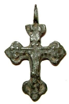 Ancient Rare bronze pectoral Believer cross Middle Ages.
