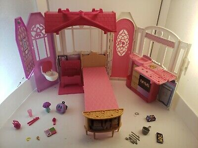 2014 Barbie Glam Getaway House Fold-N-Go Dollhouse Playset Case W/accessories