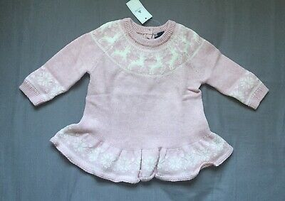 Baby Girl 3-6 Month Baby Gap Pink Reindeer Fair Isle Peplum Sweater Dress