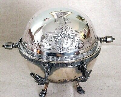 Antique Wilcox Ornate Regency Style Hoof Foot Roll Top Silver Plate Butter Dish