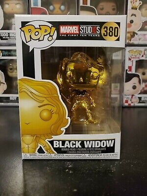 Funko Pop! Marvel Stud10s Studios Gold Chrome Black Widow #380 WITH PROTECTOR!