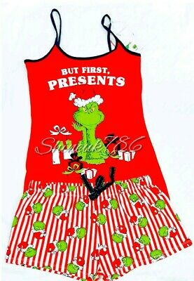 Ladies DR SEUSS THE GRINCH Primark Pyjama Set Short cami Vest Christmas Pjs BNWT