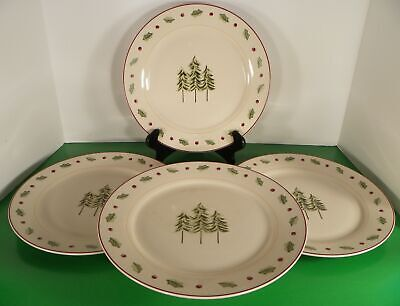 Merry Brite MBT1 Dinner Plate (s) LOT OF 4 Christmas Fir Trees Holly Berry