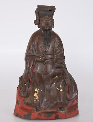 Chinese Ming Bronze Statue of First Han Dynasty Emperor Liu Bang Dated 1502