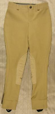 TuffRider Pull On Ribb Knee Patch Jods Jodhpurs Youth 8 light tan 100564-33