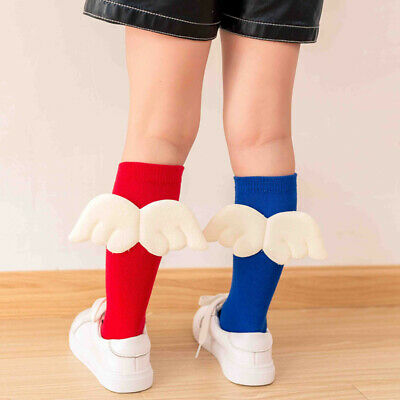 Kids Girls Candy Color Wing Elastic Knee High Socks Cotton Leg Warmers Stockings