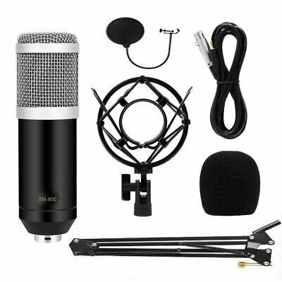 BM800 Condenser Microphone Kit w/ Black Mic Arm Stand + Pop Filter 2019 UK Ship