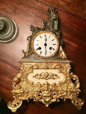 Antique French Bronze Marble and Ormolu Silk Suspension Mantle Clock