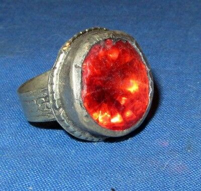 "Ring Fashion Circle Red Afghan Kuchi Tribal Alpaca Silver 1"" Size 7 to 9"