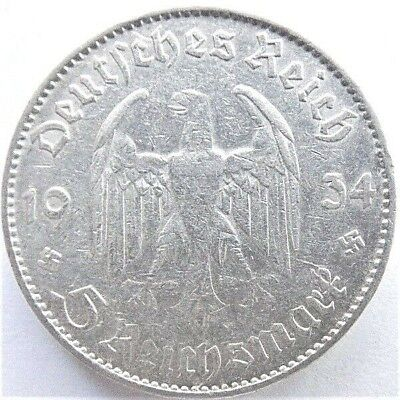 1934 A GERMANY  THIRD REICH, 5 REICHSMARK COMMEMORATIVE, grading VERY FINE +.