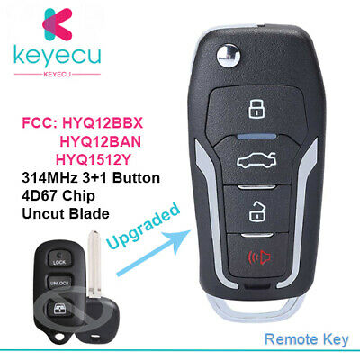 OEM Electronic 4-Button Key Fob Remote Compatible With Toyota 4Runner Sequoia FCC ID: HYQ12BAN, P//N: 89742-0C010, 89742-35040