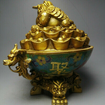 Fine Old Chinese Cloisonné Copper Golden Xenopus Censer