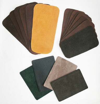 """18 vtg leather & suede patches browns, green, blue & grey lengths 10"""", 8"""" & 6½"""""""