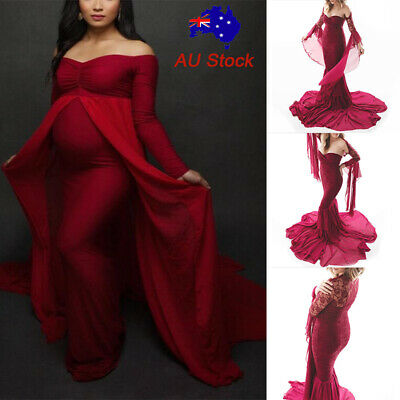 PregnantWomen Slim Maxi Long MaternityDress Party Gown Photography Shoot Props