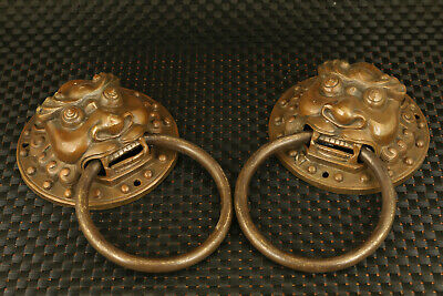 Asian old copper hand carving pair lion head collection Town house door holder