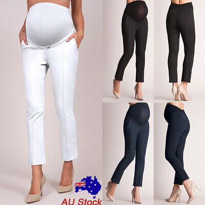 Pregnant Women Slim Fit High Waist Solid Maternity Pants Casual Formal Trousers