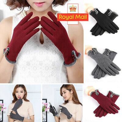 Ladies Fleece Gloves Warm Winter Thick Touch Screen Thermal Lined Comfy Soft UK