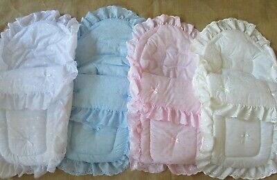 Car Seat Footmuff Cosy Toes Broderie Anglaise Pink Universal Zip Off