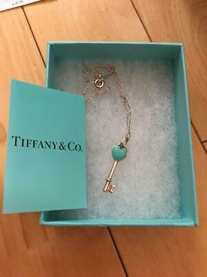 Tiffany & Co. Authentic Sterling Silver 925 Heart Key Blue Pendant Necklace RARE